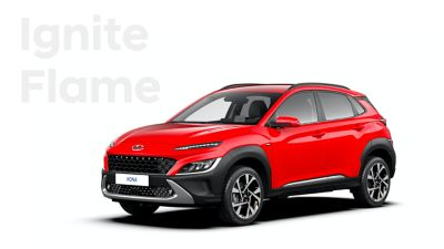 The new great variety of colour options of the new Hyundai Kona: Ignite Flame.