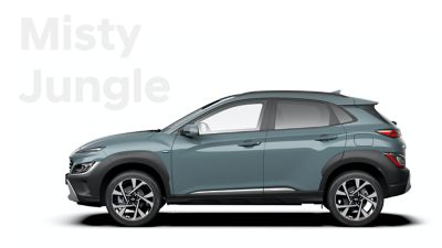 The new great variety of colour options of the new Hyundai Kona: Misty Jungle.